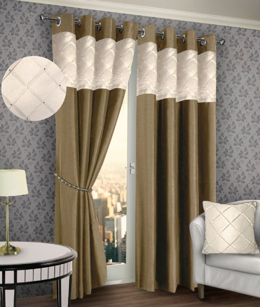 RING TOP EYELET LINED PINTUCK CURTAIN FAUX SILK BEIGE CREAM COLOUR